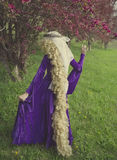 Young woman dressed as the fairy tale character Rapunzel. Young woman dressed as Rapunzel wearing purple velvet medieval costume with long, curly blond hair Royalty Free Stock Photography