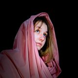 Young Woman Dressed as Mary, Mother of Christ Royalty Free Stock Photography