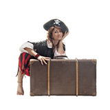 A young woman dressed as a pirate Stock Photos