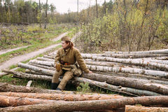 Young Woman Dressed As Russian Soviet Infantry Soldier Of World Royalty Free Stock Image
