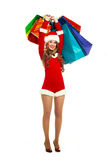 Young woman dressed as Santa Stock Images
