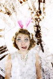 Young woman dressed as the white rabbit Royalty Free Stock Image