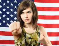 Young woman dressed in camouflage Royalty Free Stock Photo