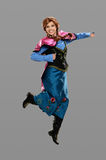 Young Woman Dressed in Costume Jumping royalty free stock photo