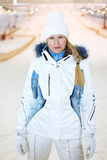 Young woman dressed in indoor ski Royalty Free Stock Photo