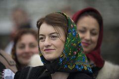 Woman dressed in traditional Romanian clothes_ Stock Photo