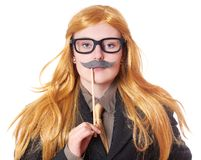 Young woman dressed up as a man Stock Photography