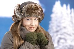 Young woman dressed up warm freezing smiling Royalty Free Stock Photos
