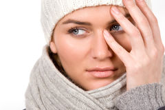 Young woman dressed winter style clothes on white Royalty Free Stock Photo