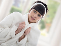 Young woman in dressing gown Stock Photo
