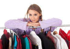 Young woman in dressing room Royalty Free Stock Photography