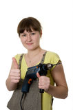 Young woman and drill Stock Photography