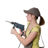 Young woman and drill Royalty Free Stock Photo
