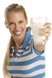 Young woman drink milk Stock Photos