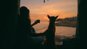 Young woman drink tea or coffee in van with dog. Slow motion romantic and dreamy shot from inside of camping van on young adventurous woman travel world with stock video footage