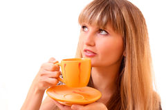Young woman drink tea from cup Royalty Free Stock Photo