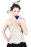 Young Woman Drinking Alcoholic Beverage Stock Photo