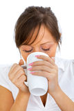 Young woman drinking big coffee Royalty Free Stock Photo