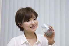 Young woman drinking chia seeds royalty free stock image
