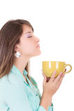 Young woman drinking cofee portrait. Stock Photo
