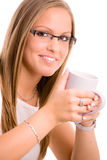 Young woman drinking coffe Royalty Free Stock Photos