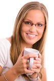 Young woman drinking coffe Royalty Free Stock Image