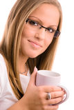 Young woman drinking coffe Stock Image