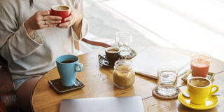 Young Woman Drinking Coffee Concept Royalty Free Stock Images