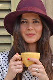 Young woman drinking coffee. Royalty Free Stock Image