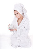 Young woman drinking cup of coffee. Stock Image
