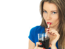 Young Woman Drinking Fizzy Cola Drink Stock Photos
