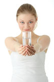 Young woman drinking fresh cold water Stock Photography