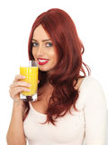 Young Woman Drinking Fresh Orange Juice Royalty Free Stock Photography