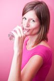 Young woman drinking fresh water from a glass Stock Image