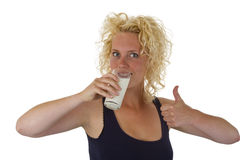Young woman drinking glass of fresh milk Royalty Free Stock Photo