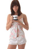 Young woman drinking her morning coffee Royalty Free Stock Photo