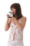 Young woman drinking her morning coffee Stock Photos