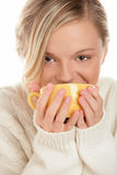 Young Woman Drinking Hot Chocolate Stock Photography