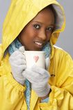 Young Woman Drinking Hot Drink Royalty Free Stock Images