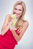 Young woman drinking lemonade Royalty Free Stock Photography