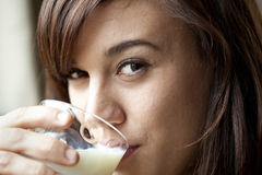 Young Woman Drinking Milk Stock Photos