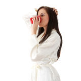 Young woman drinking morning coffee Royalty Free Stock Photos