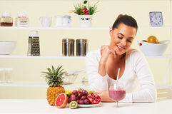 Young woman drinking a smoothie fruit drink health delicious sip weight loss diet Stock Photo