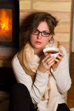 Young woman drinking tea Royalty Free Stock Images