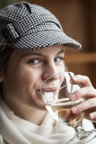 Young Woman Drinking White Wine Stock Photos