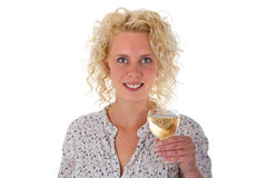 Young woman drinking white wine Stock Photography