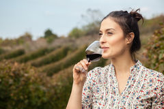 Young Woman Drinking Wine Stock Photography