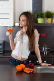 Woman drinks  fresh juice Royalty Free Stock Photos