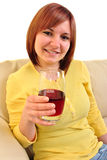 young woman drinks home made juice Royalty Free Stock Photo