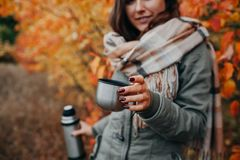 Young woman drinks tea in autumn forest stock photo